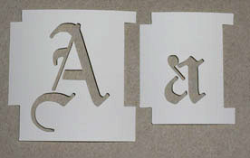alphabet stencils have groves cut into the sides to help make alignment easier for more info see what an alphabet stencil order looks like