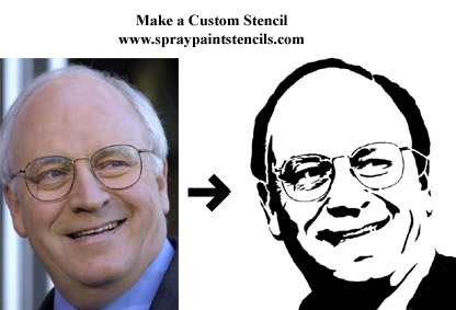 stencil tutorials learn how to make a stencil of dick cheney. Black Bedroom Furniture Sets. Home Design Ideas